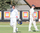 Raymond van Schoor acknowledges the crowd after scoring a century, Namibia v Netherlands, ICC Intercontinental Cup 2011-13, 1st day, Windhoek, April 11, 2013