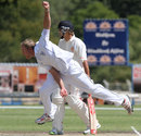 Christi Viljoen completes his bowling action, Namibia v Netherlands, ICC Intercontinental Cup 2011-13, 2nd day, Windhoek, April 12, 2013