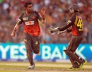 Ashish Reddy and Parthiv Patel celebrate a wicket, Kolkata Knight Riders v Sunrisers Hyderabad, IPL, Kolkata, April 14, 2013