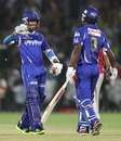 Ajinkya Rahane and Sanju Samson celebrate after scoring the winning runs