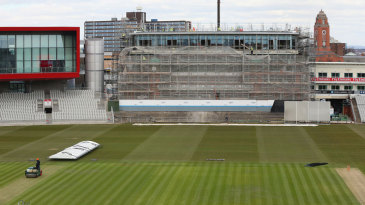 Work continues at Old Trafford ahead of the Ashes