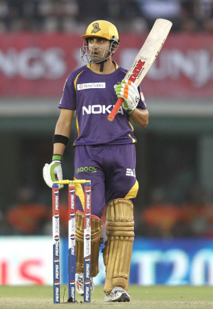 Gautam Gambhir raises his bat after scoring his third consecutive fifty, Kings XI Punjab v Kolkata Knight Riders, IPL 2013, Mohali, April 16, 2013