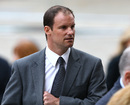 Andrew Strauss arrives at Christopher Martin-Jenkins' memorial service, London, April 16, 2013