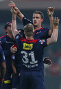 Morne Morkel celebrates after dismissing Chris Gayle