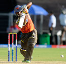 Biplab Samantray drives down the ground, Pune Warriors v Sunrisers Hyderabad, IPL, Pune, April 17, 2013
