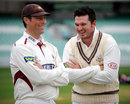 Marcus Trescothick and Graeme Smith share a joke, Surrey v Somerset, County Championship, Division One, The Oval, 1st day, April 17, 2013
