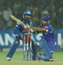Dishant Yagnik sweeps during his innings of 34, Rajasthan Royals v Mumbai Indians, IPL 2013, Jaipur, April 17, 2013