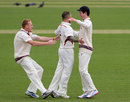 Peter Trego celebrates after getting Graeme Smith cheaply, Surrey v Somerset, County Championship, Division One, The Oval, 2nd day, April 18, 2013