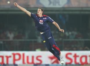 Morne Morkel leaps to field the ball, Delhi Daredevils v Chennai Super Kings, IPL, Delhi, April 18, 2013