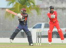 Anthony Alleyne cuts square, Combined Campuses and Colleges v Trinidad & Tobago, Regional Super 50 2012-13, Bridgetown, April 19, 2013