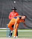 Michael Swart in his delivery stride, Namibia v Netherlands, ICC World Cricket League Championship, Windhoek, April 18, 2013