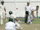 Mohammad Ashraful weaves out of the way of a Kyle Jarvis bouncer, Zimbabwe v Bangladesh, 1st Test, 4th day, Harare, April 20, 2013