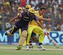 Albie Morkel collides with Yusuf Pathan as he goes for the ball, Kolkata Knight Riders v Chennai Super Kings, IPL 2013, Kolkata, April 20, 2013
