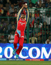 Murali Kartik leaps to take the catch that dismissed Shane Watson, Royal Challengers Bangalore v Rajasthan Royals, IPL 2013, Bangalore, April 20, 2013