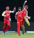 Arun Karthik is ecstatic after getting rid of Stuart Binny, Royal Challengers Bangalore v Rajasthan Royals, IPL 2013, Bangalore, April 20, 2013