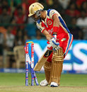 Virat Kohli plays one onto his stumps off James Faulkner