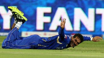Ajit Chandila showed fine reflexes at mid-off to get rid of AB de Villiers