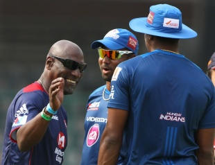 A West Indian convention in Delhi: Viv Richards, Dwayne Smith and Kieron Pollard, Delhi Daredevils v Mumbai Indians, IPL, Delhi, April 21, 2013