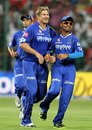 Shane Watson and Ajinkya Rahane celebrate Tillakaratne Dilshan's wicket