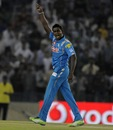 Ajantha celebrates Azhar Mahmood's wicket, Kings XI Punjab v Pune Warriors, IPL, Mohali, April 21, 2013