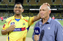 MS Dhoni and Danny Morrison at the toss presentation