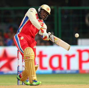 Chris Gayle launches to the boundary, Royal Challengers Bangalore v Pune Warriors, IPL, Bangalore, April 23, 2013