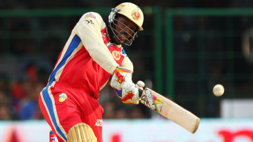 Chris Gayle launches to the boundary