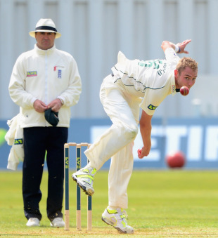 Stuart Broad had a productive first bowl of the season, Derbyshire v Nottinghamshire, County Championship, Division One, Derby, 1st day, April 24, 2013