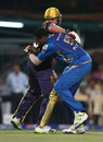 Jacques Kallis and Kieron Pollard collide during an over