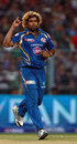 Lasith Malinga celebrates after taking a wicket in the last over, Kolkata Knight Riders v Mumbai Indians, IPL 2013, Kolkata, April 24, 2013