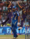 Sunil Narine celebrates Rohit Sharma's wicket, Kolkata Knight Riders v Mumbai Indians, IPL 2013, Kolkata, April 24, 2013