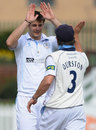 Jonathan Clare gets a high five from Wes Durston, Derbyshire v Nottinghamshire, County Championship, Division One, Derby, 2nd day, April 25, 2013