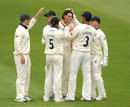 Chris Wright is congratulated on taking a wicket, Somerset v Warwickshire, County Championship, Division One, Taunton, 1st day, April 25, 2013