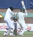 Mushfiqur Rahim cuts during his half-century