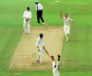 Glenn McGrath celebrates dismissing Mike Atherton for 4, England v Australia, 1st Test, Edgbaston, 3rd day, July 7, 2001