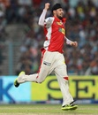 Harmeet Singh celebrates Jacques Kallis' wicket, Kolkata Knight Riders v Kings XI Punjab, IPL, Kolkata, April 26, 2013
