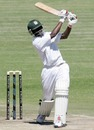 Richmond Mutumbami hits over the top, Zimbabwe v Bangladesh, 2nd Test, Harare, 3rd day, April 27, 2013