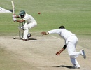 Sohag Gazi ducks under a short ball, Zimbabwe v Bangladesh, 2nd Test, Harare, 4th day, April 28, 2013