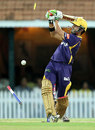 Gautam Gambhir swings and loses his leg stump