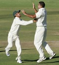 Ziaur Rahman and Nasir Hossain celebrate Brendan Taylor's wicket, Zimbabwe v Bangladesh, 2nd Test, Harare, 4th day, April 28, 2013