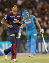 Umesh Yadav heads towards his team-mates after picking up a wicket, Delhi Daredevils v Pune Warriors, IPL, Raipur, April 28, 2013