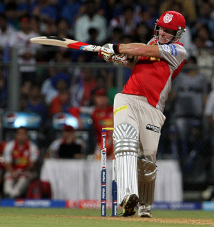 David Miller pulls during his innings of 56, Mumbai Indians v Kings XI Punjab, IPL 2013, Mumbai, April 29, 2013