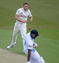 Tim Bresnan flings the ball back at Chesney Hughes, Yorkshire v Derbyshire, County Championship, Division One, Headingley, 2nd day, April 30, 2013