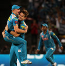 Luke Wright leaps on to Kane Richardson after a crucial wicket, Pune Warriors v Chennai Super Kings, IPL, Pune, April 30, 2013