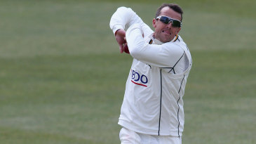 Graeme Swann has his first bowl of the series