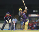 Debabrata Das hits down the ground, Delhi Daredevils v Kolkata Knight Riders, IPL, Raipur, May 1, 2013