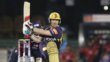 Eoin Morgan about to reverse-sweep the ball
