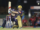 Eoin Morgan about to reverse-sweep the ball, Delhi Daredevils v Kolkata Knight Riders, IPL, Raipur, May 1, 2013