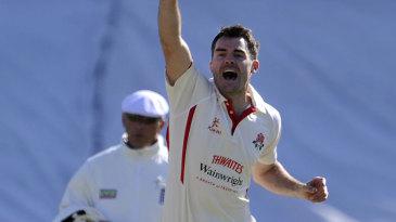 James Anderson celebrates a wicket
