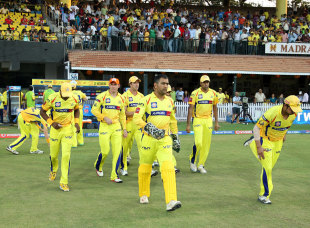 Chennai Super Kings walk on to the field, Chennai Super Kings v Kings XI Punjab, IPL 2013, Chennai, May 2, 2013